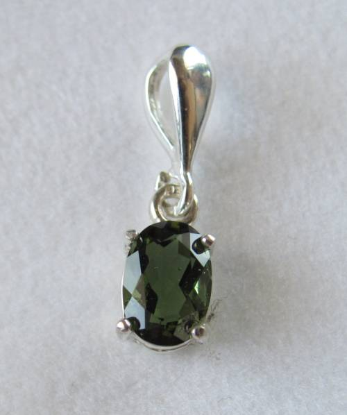 Sterling silver 5x7 mm faceted moldavite pendant 1 pc aloadofball Images